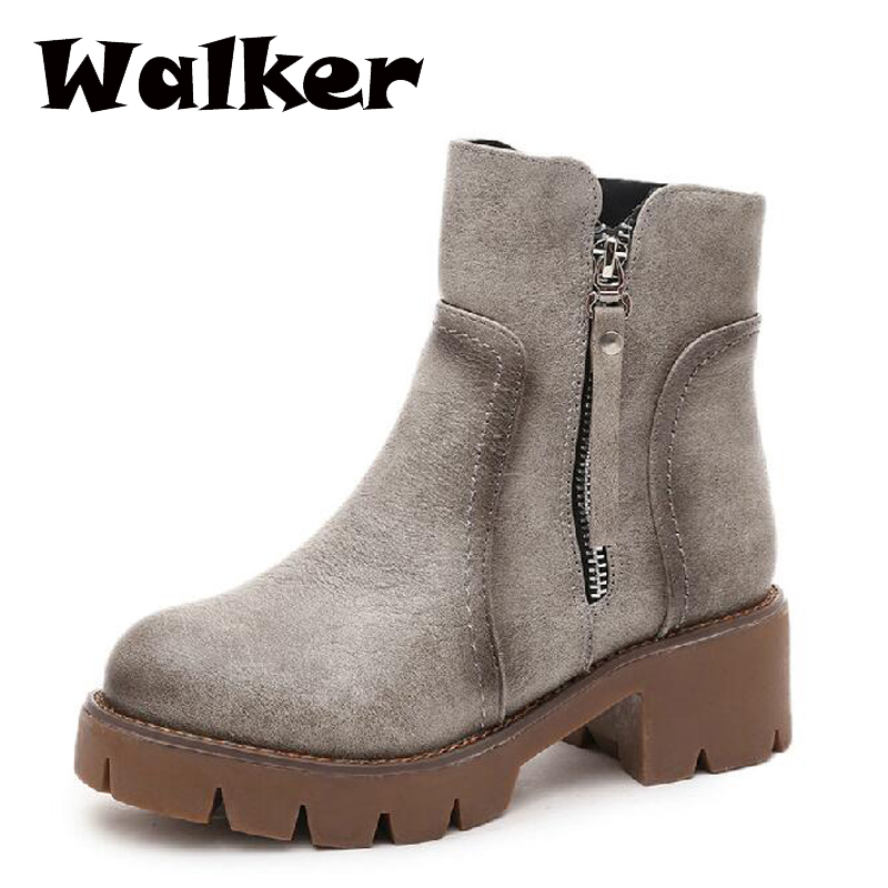 Women boots 2015 autumn winter leather boots women thick heel platform martin boots vintage shoes botte femme <br><br>Aliexpress