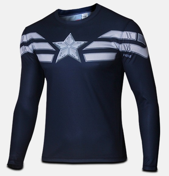 Clearance Sale Superhero Captain America T-Shirt Winter Soldier Mens Tees Shirt Top Jersey Long Sleeve Crew Neck - Online Store 939240 store