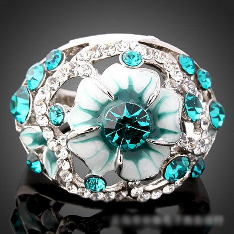 Fashion jewelry Blue gem Stone rhinestone crystal inlaid flower ring platinum plated Rings for women New Sale free shipping R118(China (Mainland))