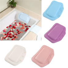 PVC Foam Soft Plain Bath Spa Pillow Comfortable Relax With Suction Cups Waterproof 5 Colors Chosen 21*31cm(China (Mainland))
