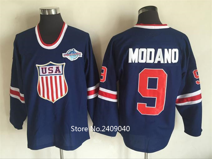 Hot sale! Men's 9 Mike Modano 2016 USA Throwback High quality embroidery Stitched Hockey Jerseys(China (Mainland))