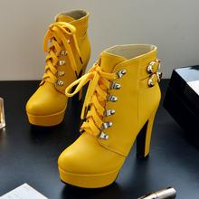 Wanita Mode Lace Up Chunky Tinggi Heel Ankle Boots Sepatu Platform Musim Semi Jatuh Wanita Hitam Putih Coklat Kuning(China)