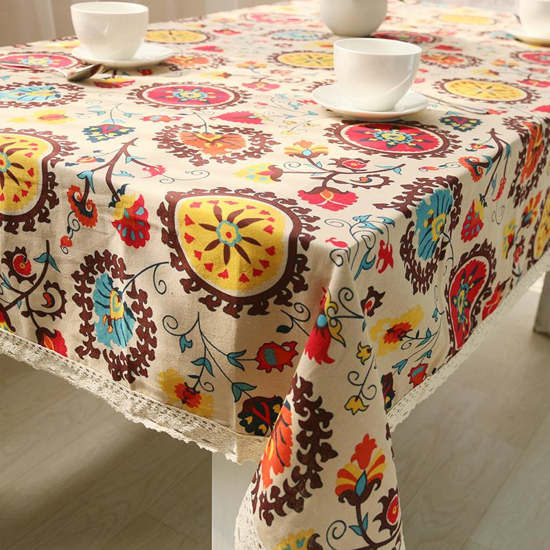Cotton Linen Lace Tablecloth Dining Table Cover Desk Towels Sun Flower High Quality Bohemian Style Free Shipping(China (Mainland))