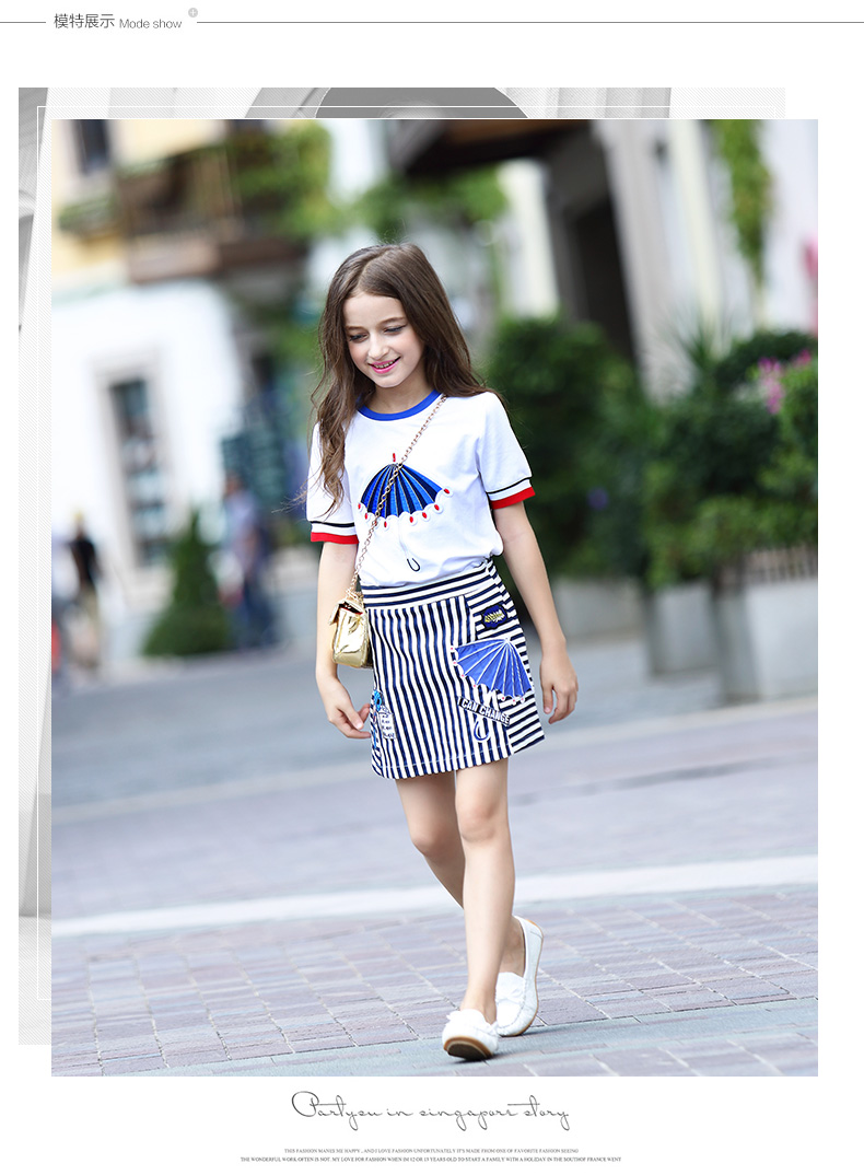 Spring Fashion Girl Clothes Set Include Cotton T-shirt And Striped Short Shirt Kids Clothing Sets New Arrival 8-16y GingerCola