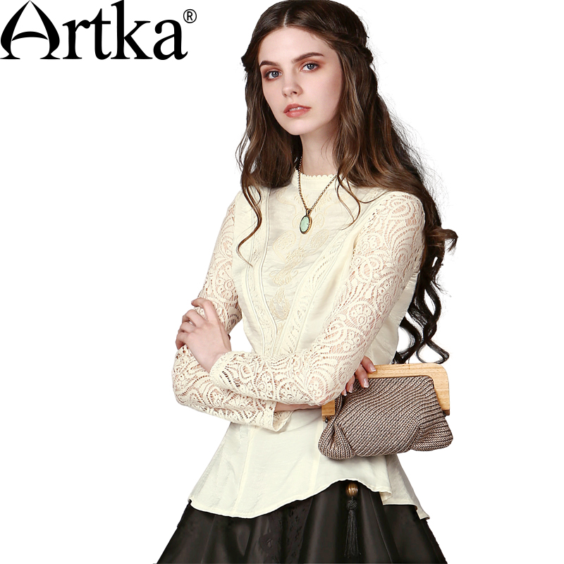 Artka Women's Early Fall Elegant Baroque Embroidery Perforated Lace Cinched Waist Long Sleeve Stand Collar Blouse SA10549Q - store