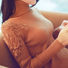 Women in Spring autumn winter thicken collar collar pullover knitted sweater women's long fitted sweater dress(China (Mainland))