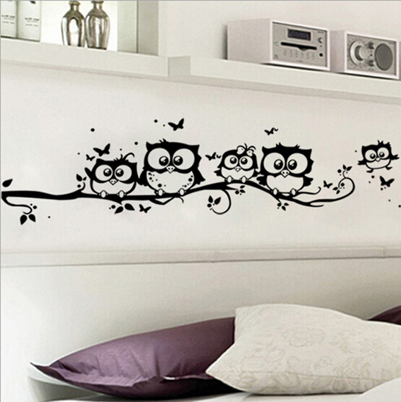 Wall Art Murals Vinyl Decals Stickers : Diy black owl cartoon wall stickers removable art vinyl