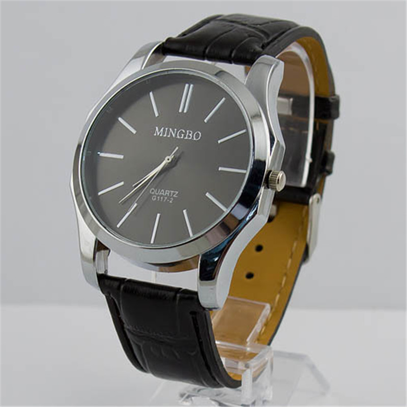 Top Selling Synthetic Leather Big Dial Men's Luxury Fashion Quartz Wristwatch Watches 2 Colors - zhongqi yi's store