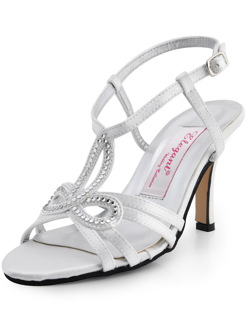 White Women Pumps Open Toe Bridal Sandals Cutout High Heels Satin Rhinstones Buckles Straps Wedding Shoes - Dragon River store
