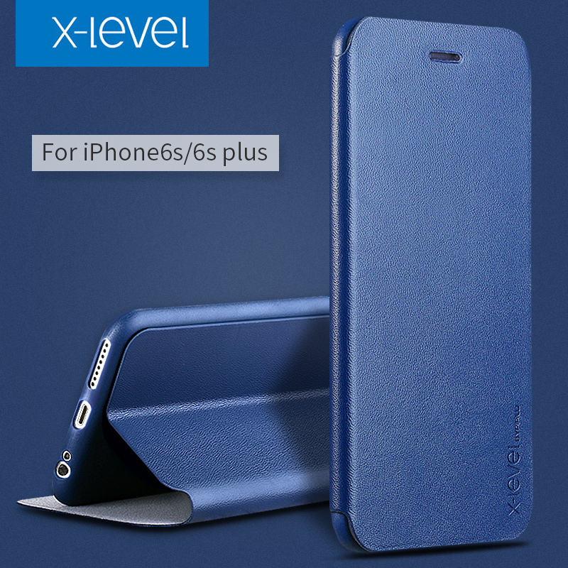 X-Level PU Leather Case For iPhone 6s Business Style Flip Phone Case for iPhone 6 6s plus Luxury Stand Case Cover(China (Mainland))