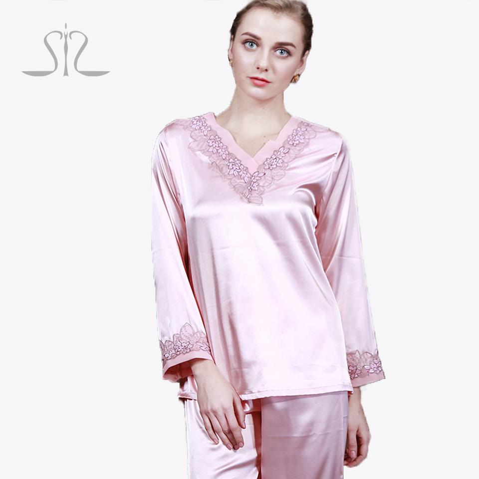 New Arrival Summer Silk Women Nighgowns Of Sleep Lounge Satin Long Sleeve Kigurumi Pajamas Sets TZ028(China (Mainland))