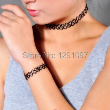 Stock Hot Vintage 80s/90s Popular Strentch Tattoo Henna Hippy Choker necklace girl  -  7 kingdom store