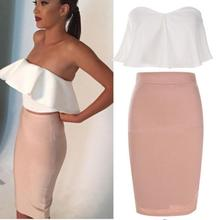 Buy Summer 2 Piece Set Women Sexy Suit Slash Neck Shoulder Ruffles Strapless Wrapped Chest Tops Knee-length Pink Pencil Skirt Z1 for $11.49 in AliExpress store