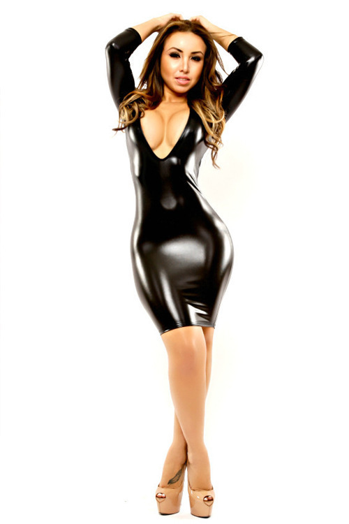 latex Sexy dress black