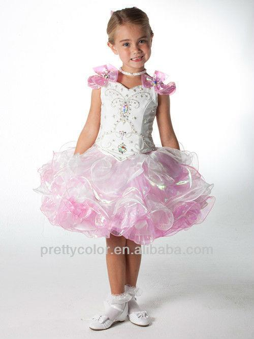 blue pink tiered ruched short mini beaded bow on the shoulder rhinestone beads girls pageant dress patterns(China (Mainland))
