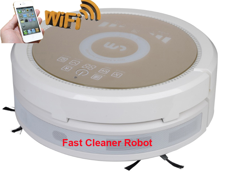 WiFiSmartphone App Control Wet and Dry Automatic Vacuum Cleaner Robot With Air purifier,150ml water tank,3350MAH Lithium battery(China (Mainland))