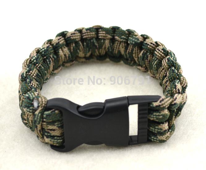 50pcs/lot Unisex Paracord Buckle Wrist Band Survival Cord Cuff Bangle Bracelet(China (Mainland))