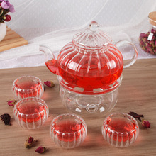 1  ECO-friendly High-grade Thickening Pumpkin Glass Teapot  600ml + 1 Warmer Base + 4 Double  Tea Cups 8pcs/ Set  Coffee&Tea Set