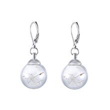 Real Dandelion Seeds Earrings Dried Dandelion Drop Earrings Vintage Glass Balls Wishing Floating Bottle Drop Earrings For Women(China (Mainland))