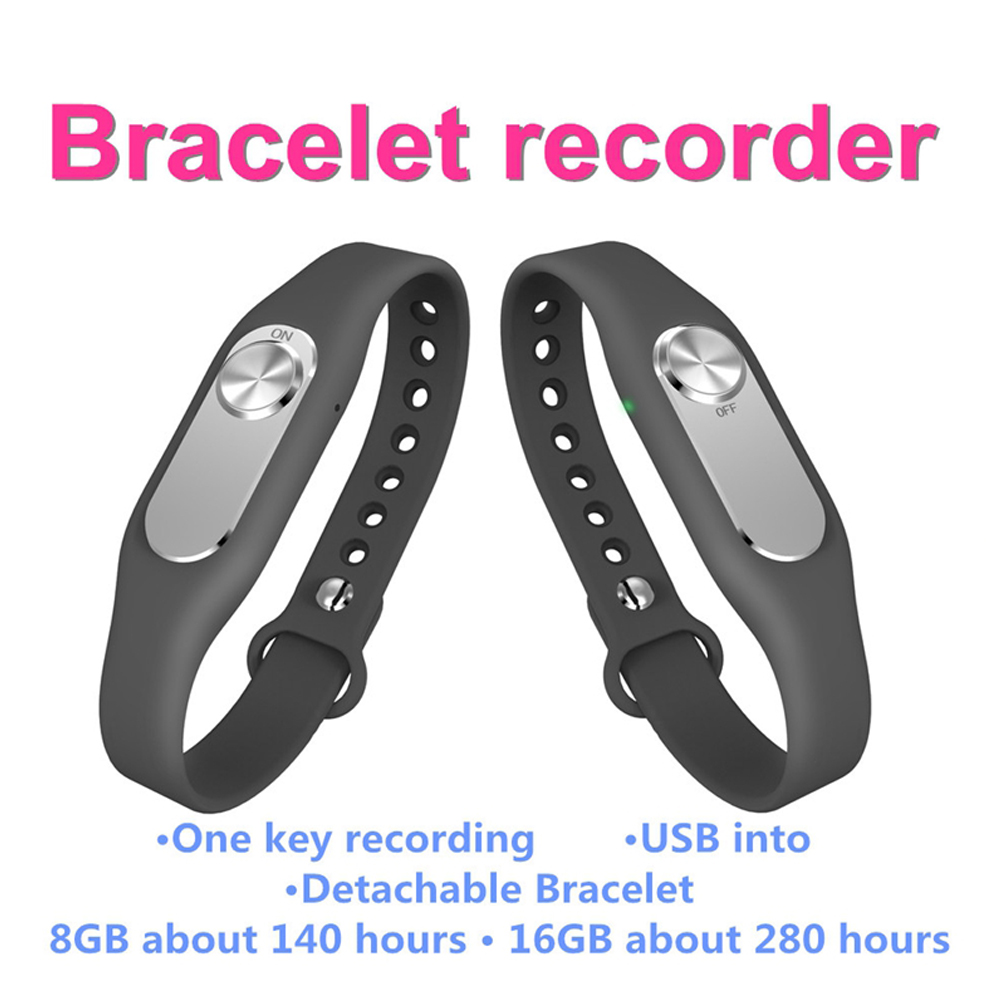 Newest Original Wearable Wristband Sports Bracelet Portable 4GB One Button Long Time Audio Video Record Digital Voice Recorder