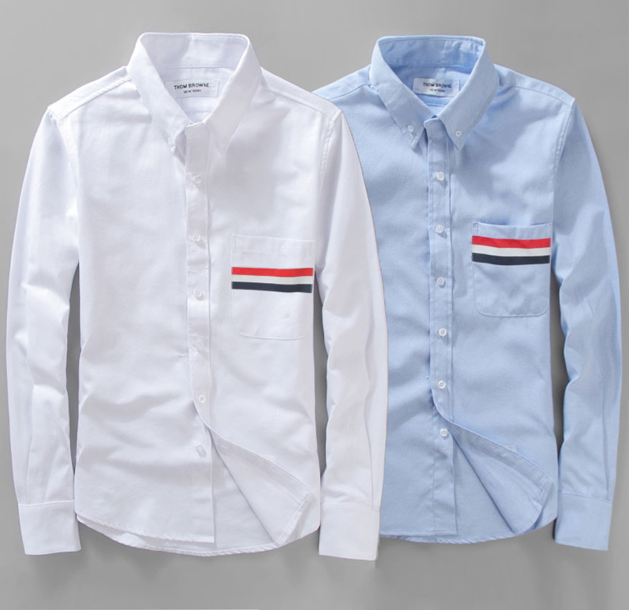 Brand tb mens casual shirt black white red shirt collar for Mens red and white striped dress shirt