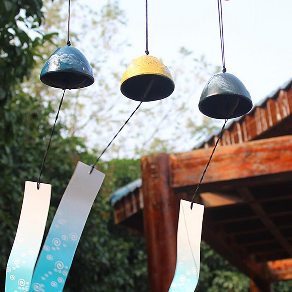 Japanese Nambu Cast Iron Hummingbird and flower Furin Wind Chimes with Bell