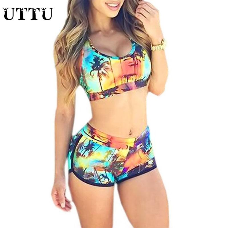 Sexy Sport Tankinis Cropped Bikinis Push Up Biquini Com Short Swimwear Printed Bathing Suit Beach Swimming Suit For Women