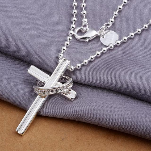 factory wholesale and retail 925 silver jewelry,fashion jewelry exquisite modern referral circle cross necklace - Whitehead,N316(China (Mainland))