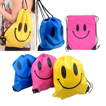Waterproof Colorful Happy Face Drawstring Bag