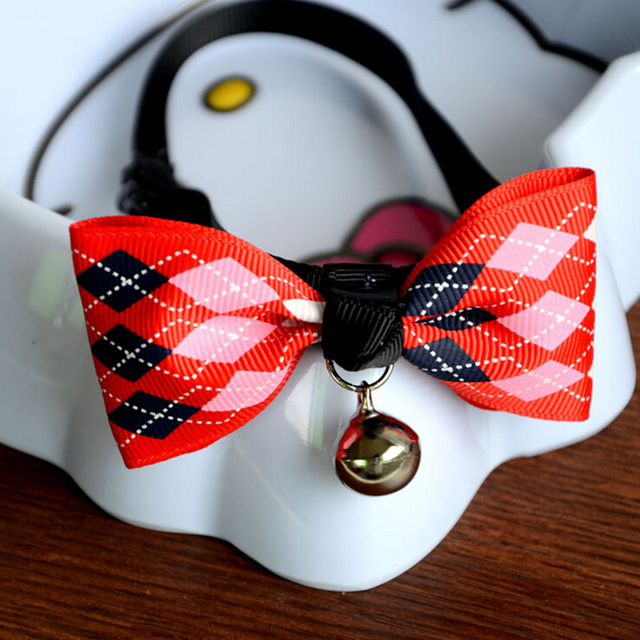 New Cute Print Adjustable Dog Bow Tie With Bell Puppy Kitten Necktie Collar Pet Grooming