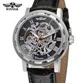T Winner Men s Watch Mechanical Hand wind Fashion Leather Strap Crystal Analog Stylish Best Wristwatch