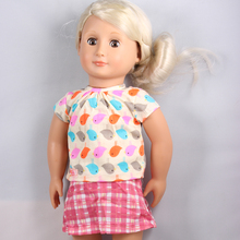 """Buy Fast Delivery T-shirt + Grid Short Dress American Girl Doll Clothes Fit 18 """" American Girl Doll AG628 for $4.74 in AliExpress store"""