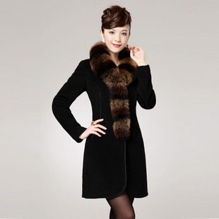 Winter temperament high quality women's elegant style slim zipper cashmere overcoat with fox fur
