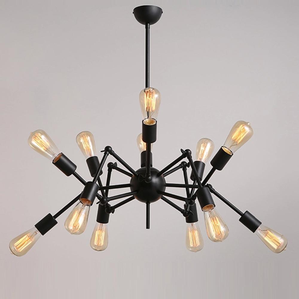 Nordic Industrial Loft Spider Design E27 Edison Chandelier