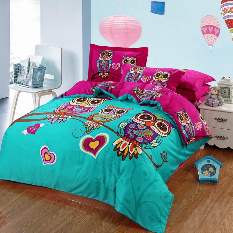 Fashion classic owl bedding set blue boys/girls quilt duvet cover bed sheet cartoon pattern bedspread king queen size 4pcs(China (Mainland))