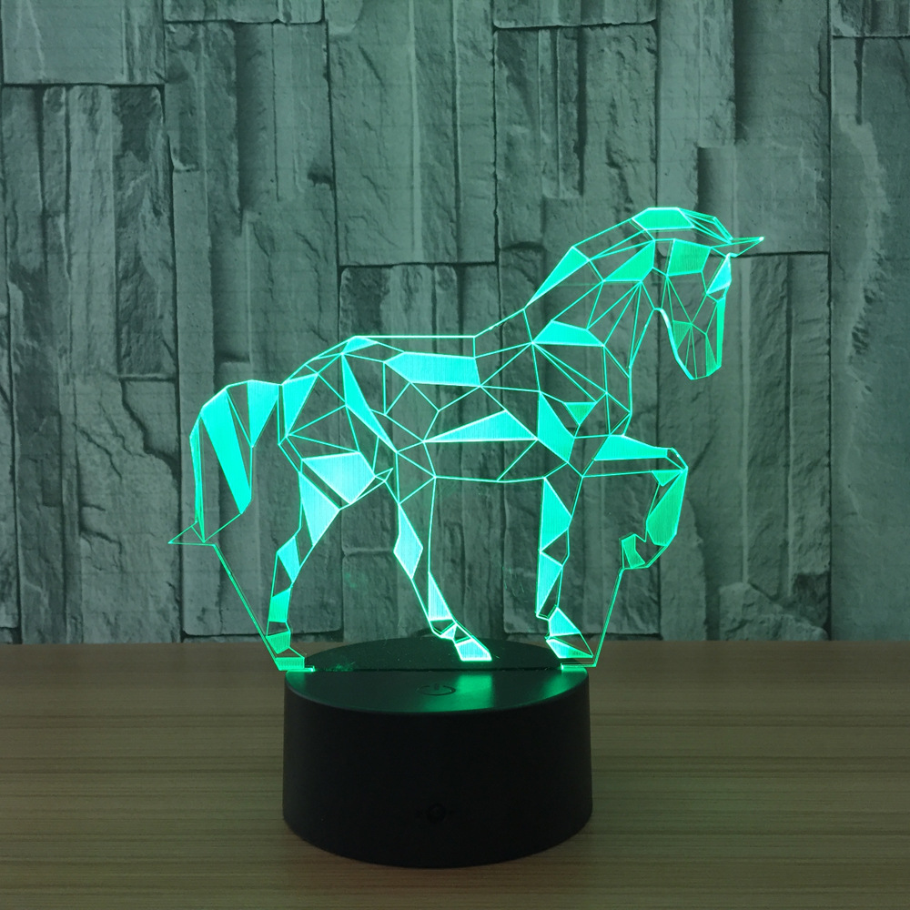 Acrylic 3D Stereo Vision Lamp Horse Interior Decorative Lamp 7 Color Change Remote Touch Switch Bedroom Bedside Lamp