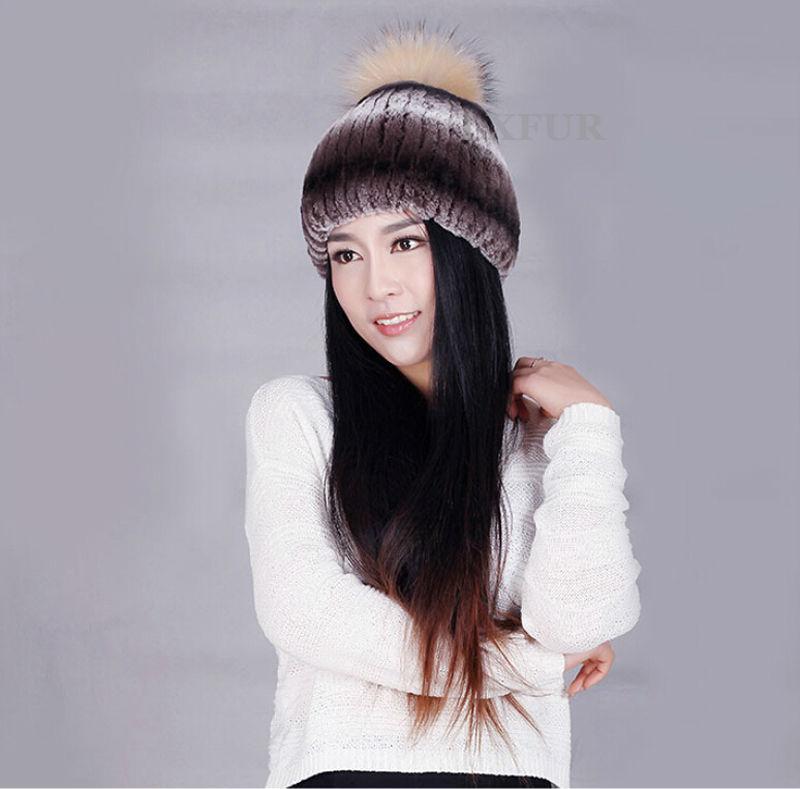 2015 New Style Knitted Rex Rabbit Fur Cap Fox Ball Hat Winter Warm Headwear Thick Hats Super Quality LX00243 - LuxuryFur store