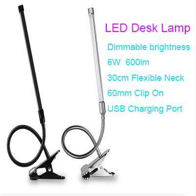 6W Dimmable clip on led desk lamp study eye protection USB plug led table lamp flexible arm two switch power dimmer book lights(China (Mainland))