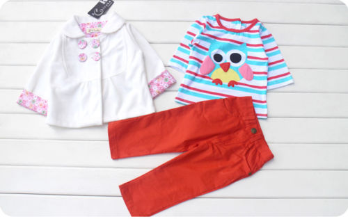 3PCS Baby Boy Girl Kid Owl Outfits Sets Suit Clothes Coat+T-shirt+Pants 3-24M