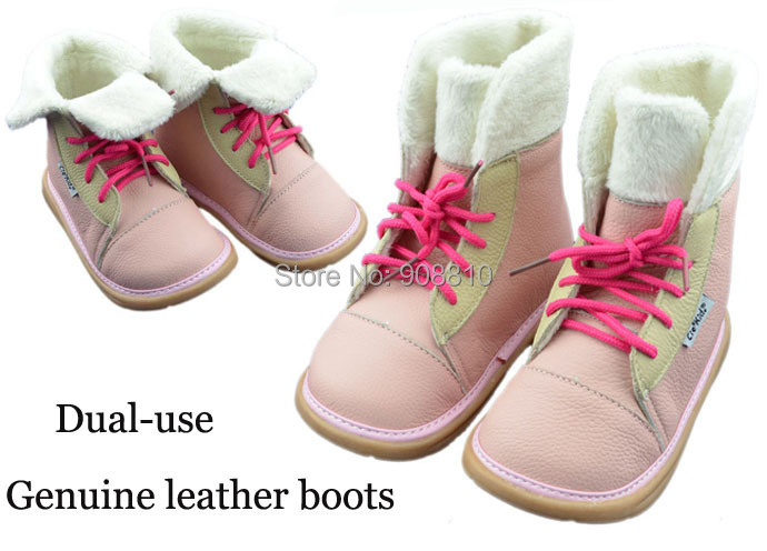 2014children soft leather snow boots for winter pink black dual use footwear for kids new arrival free shipping retail wholesale(China (Mainland))