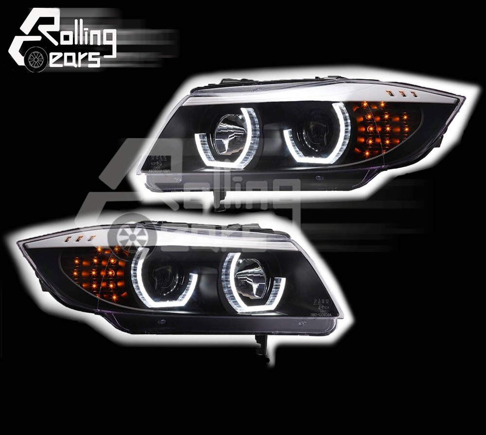 halogen head lamp set black angel eyes ring for bmw e90. Black Bedroom Furniture Sets. Home Design Ideas