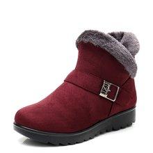 รองเท้าบู๊ทหิมะอบอุ่นสั้นขนสัตว์ฤดูหนาวข้อ(China)