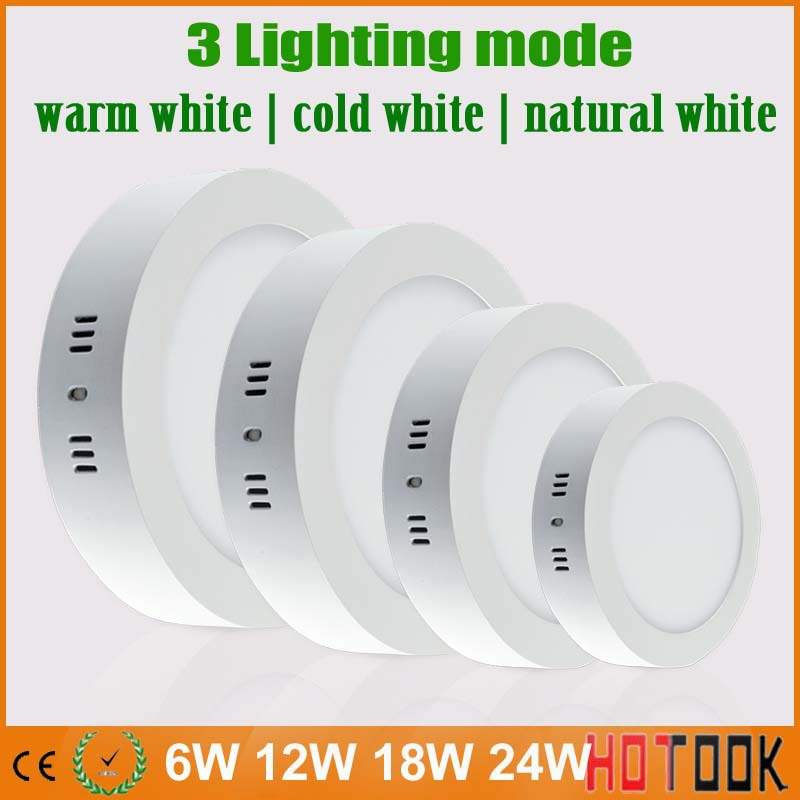 6W 12W 18W 24W Led Downlight Surface Mounted Panel Ceiling Dimmable Warm Natural Cool White Lampada Spot Lamp 1DHL - HOTOOK Official Store store