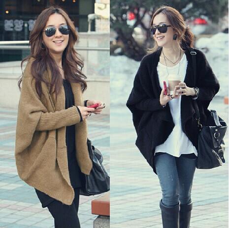 2014 autumn loose cloak batwing shirt cardigan cape outerwear coarse knitting sleeve sweater - Quzhou Jinnuo Machinery Co., Ltd. store
