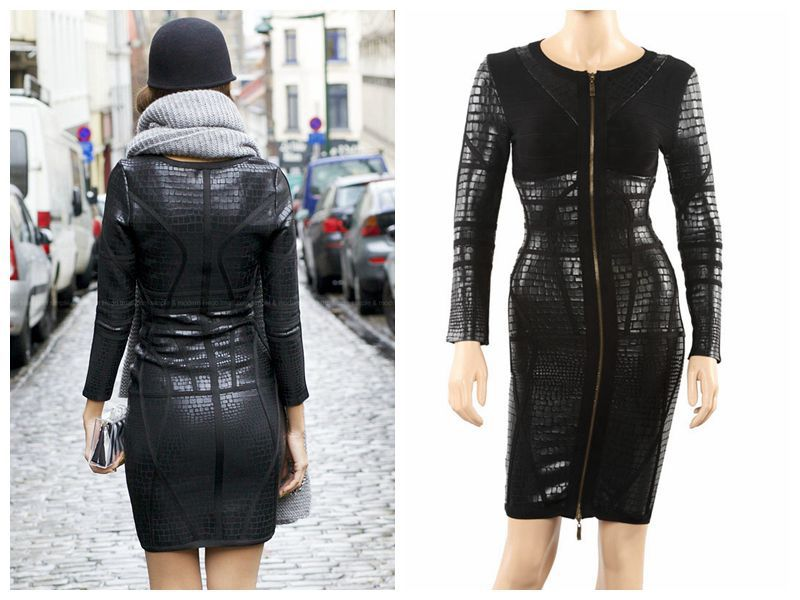 runway branded black metallic front zipper bandage dress long sleeve celebrity 2014 ladies party direct - Monopoly HL Guangzhou store