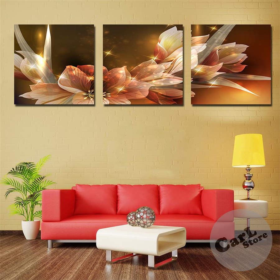 Canvas painting wealth and luxury golden flowers 3 piece for Home decoration pieces