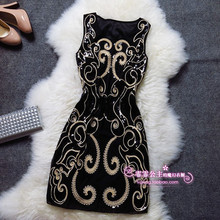 2016 new arrival sequins embroidery summer style summer dress,women dress,party dresses TYGK7035(China (Mainland))