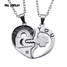 Love U Heart Key Wholesale 2014 New Couple Lovers' Pendant Necklaces For Women's and Men's 316L Stainless Jewelry Key Necklace