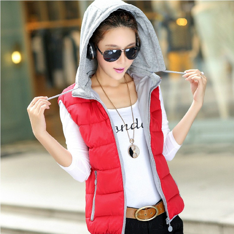 2015 winter women's clothing, female money hooded cotton vest, casual fashion slim thick warm vest - BEST ON LINE STORE store