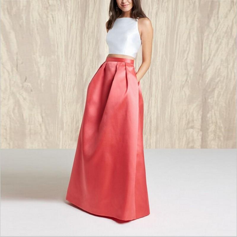 Formal Red Elegant Long Taffeta Skirt Winter Autumn Spring Style ...
